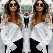 Women Deep V Neck Long Sleeve Tops Ladies Sexy Casual Loose Soild Blouse T Shirt