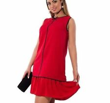 Women Fashion Plus Size Sleeveless Patchwork Ruffle Red Color Dress
