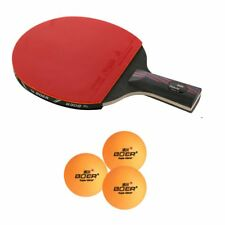 Carbon Fiber Table Tennis Racket Ping Pong Paddle Bat Long Short Handle + Bag OE