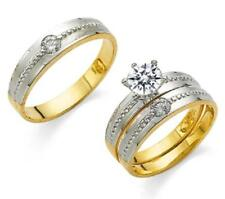 GOLD HIS & HER 14Kt SOLID YELLOW GOLD 2-TONE WEDDING RING BAND SET SIZE 5-13