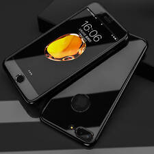 Hybrid 360° Hard Thin Mirror Case +Tempered Glass Cover iPhone 5 6 plus 7 8 SE
