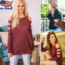 USA Women Ladies Cut Out Long Sleeve T-shirt Cold Shoulder Loose Tops Blouse Tee