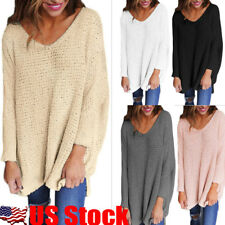 US Womens V-Neck Knitted Sweater Oversize Long Sleeve Loose Jumper Tops Knitwear