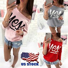 USA Womens Off Shoulder Long Sleeve T-Shirt Tops Plus Size Casual Blouse Shirts