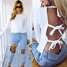 Fashion Womens Backless Lace Up Crop Top Casual Long Sleeve T-Shirt Blouse Tee