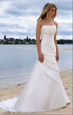 New White Ivory Strapless Bridal Gown A-line Wedding Dress Size 6 8 10 12 14 16