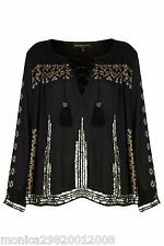 TOPSHOP Embroidered Smock Blouse Top by Kate Moss Size UK10/38/US6 NEW