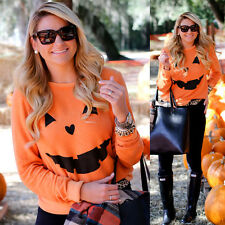 Print  Halloween Pumpkin Pullover Cotton Sweatshirt Tops Blouse Shirt Gift  Wome