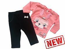 "Baby Girls HIGH QUALITY! Tracksuit ""CORAL BUNNY"" Top & Trousers/Leggings SET"