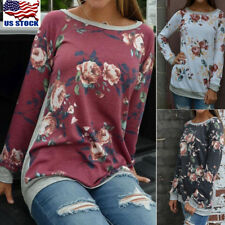 Women's Floral Long Sleeve Crew Neck Tops Casual Tee T-Shirt Blouse Pullover USA