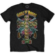 GUNS N' ROSES MEN'S TEE: SKULL CROSS 80'S AXL ROSE SLASH ROCK BLACK T-SHIRT