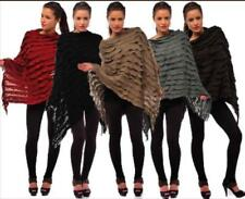 RUFFLE ASYMMETRIC TASSEL FRINGE LADIES PONCHO LONG SLANTED CAPE JUMPER TOP