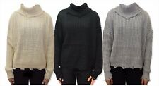 Womens Distressed Long Sleeve Chunky Knit Jumper Oversized Sweater Baggy - 17009