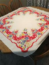"""Vintage Cotton Fruit Pattern Kitchen Tablecloth 48"""" x 52"""" Red Yellow Blue Green"""