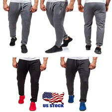 Men's Sport Trousers Casual Slim Fit Long Pants Athletic Gym Running Jogging USA