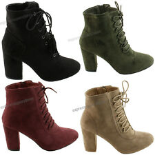Womens Booties New Ankle Boots High Heels Lace Up Shoes fashion Pumps Wedge Size