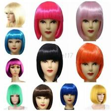 US Women Girls Sexy Full Bangs Wig BOB Straight Hair Short Wig Cosplay Party Wig