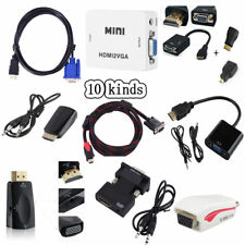 1080P HDMI Male To VGA Audio Video Converter Box Cable For PC HDTV Projector ky