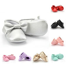 0-18M Baby Kids Bowknot Leather Soft Sole Shoes Infant Boy Girl Toddler Crib New