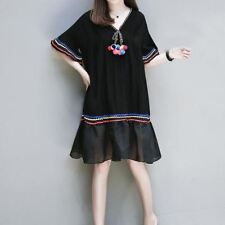 Black Color Plus Size V Neck Short Sleeve Casual Knee Length Dress For Women