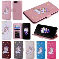 Cute Patterned Unicorn Leather Card Holder Wallet Flip Cover Case For OnePlus 5
