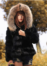 100% Real Rabbit Fur Coat Hooded Womens Fur Jacket Fur Collar Warm Outwear Black