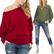 Women Casual O-Neck Batwing Long Sleeve Solid Loose T-Shirt Top
