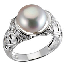 Sterling Silver Round Freshwater Pearl CZ Accent Royal Bridal Wedding Ring