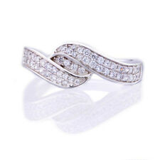 925 Sterling Silver Micro Pave Round Cubic Zirconia Bypass Cluster Wedding Ring
