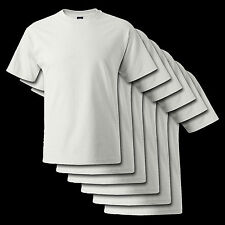 *6 PACK WHITE* Hanes Beefy-T 5180 Cotton Tee *S-6XL* Blank Tee Shirt 100%