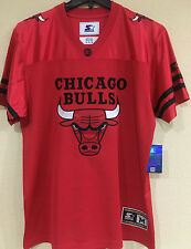 Chicago BULLS Football Men's Jersey by STARTER - Red Color Jersey - NBA Licensed