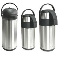 STAINLESS STEEL AIR POT FLASK TEA COFFEE PUMP ACTION VACUUM THERMOS