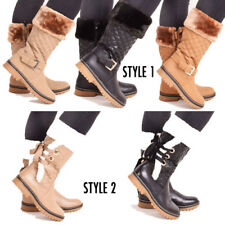 Ladies Womens Winter Warm Fur Quilted Grip Sole Mid Calf Snow Boots Size 3-8