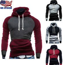 USA Mens Sports Hoodies Slim Fit Hooded Top Casual Patchwork Jacket Coat Sweater