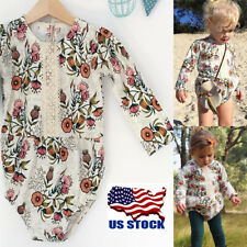 Newborn Baby Girl Floral Clothes Long Sleeve Cotton Romper Bodysuit Jumpsuit USA
