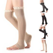 Women Lace Hem Winter Warm Knit Leg Warmers Leggings Boot Socks Stocking
