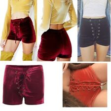 USA Moxeay Women's High-waisted Velvet Shorts Bandage Club Runner Sexy Hot Pants