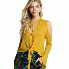 Women Solid Color Collar Off Shoulder Loose Sleeve Long Sleeve Blouse