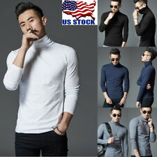 Men's Basic Tees Slim Fit High Collar Tops Casual Long Sleeve Shirts T-shirt Tee