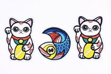 Japanese Maneki-neko Patches Carp Fish Lucky Cat DIY Iron On Applique Patch 2pcs