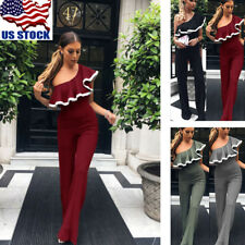 Women's One Shoulder Sleeveless Ruffled Wide Leg Pants Trousers Jumpsuit Rompers