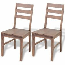 Wooden Dining Room Chairs Rustic Kitchen Seats Restaurant Cafe Bistro Brown 2pcs