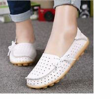 Women Comfortable White Color Hollow Out Pu Leather Flat Shoes Plus Size
