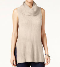 Sleeveless Cowl-Neck Tunic Sweater ULTRA FLIRT Juniors Knitted Oatmeal Long Top