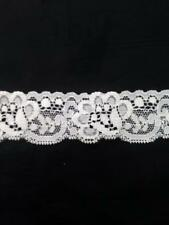 """Wholesale 200 yards off white stretch double scalloped  lace trim 1 1/4"""" S5-6"""