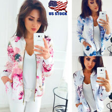 Womens Long Sleeve Slim Jacket Zipper Blazer Suit Casual Floral Outwear Coat USA