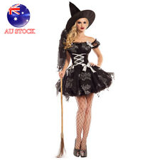 AU STOCK Women Black Silver Sparkle Witch Costume Halloween Fancy Dress with Hat