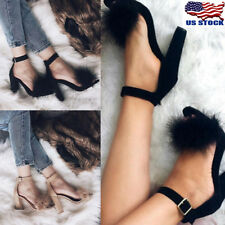 Womens High Heels Thick Fluffy Fur Ankle Strap Open Toe Shoes Sandals Shoes Size