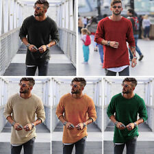 Men Crew Neck Knitted Sweater Tops Casual Slim Fit Pullover Jumpers Shirt Blouse