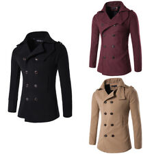 Stylish Men Slim Trench Coat Winter Long Jacket Outwear Double Breasted Overcoat